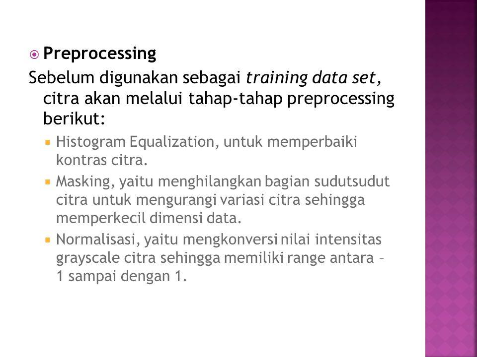 Preprocessing Sebelum digunakan sebagai training data set, citra akan melalui tahap-tahap preprocessing berikut: