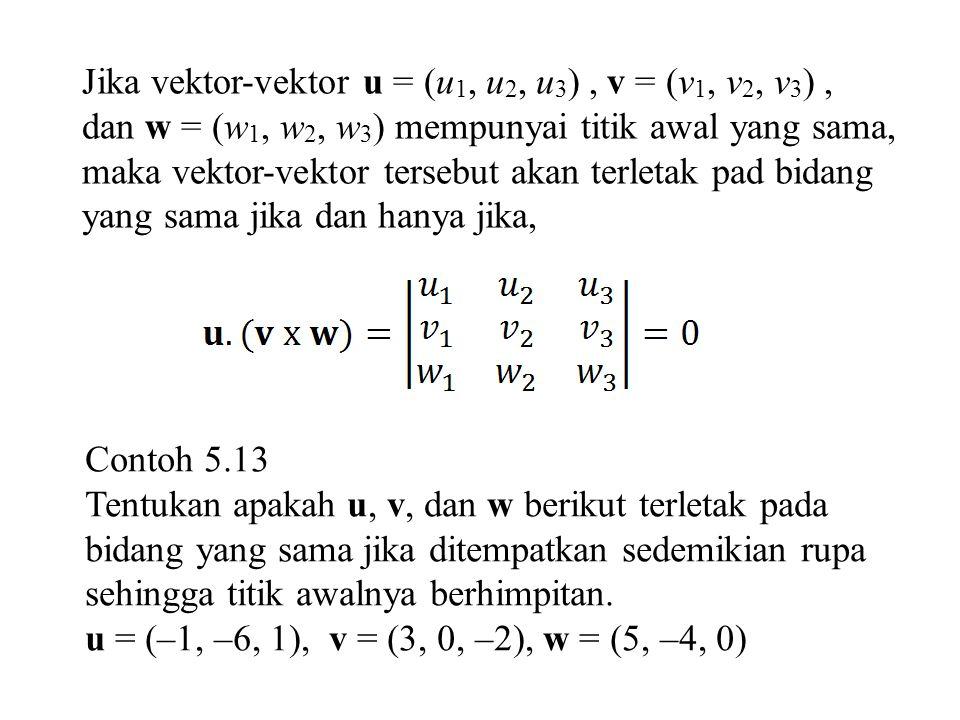 Jika vektor-vektor u = (u1, u2, u3) , v = (v1, v2, v3) ,