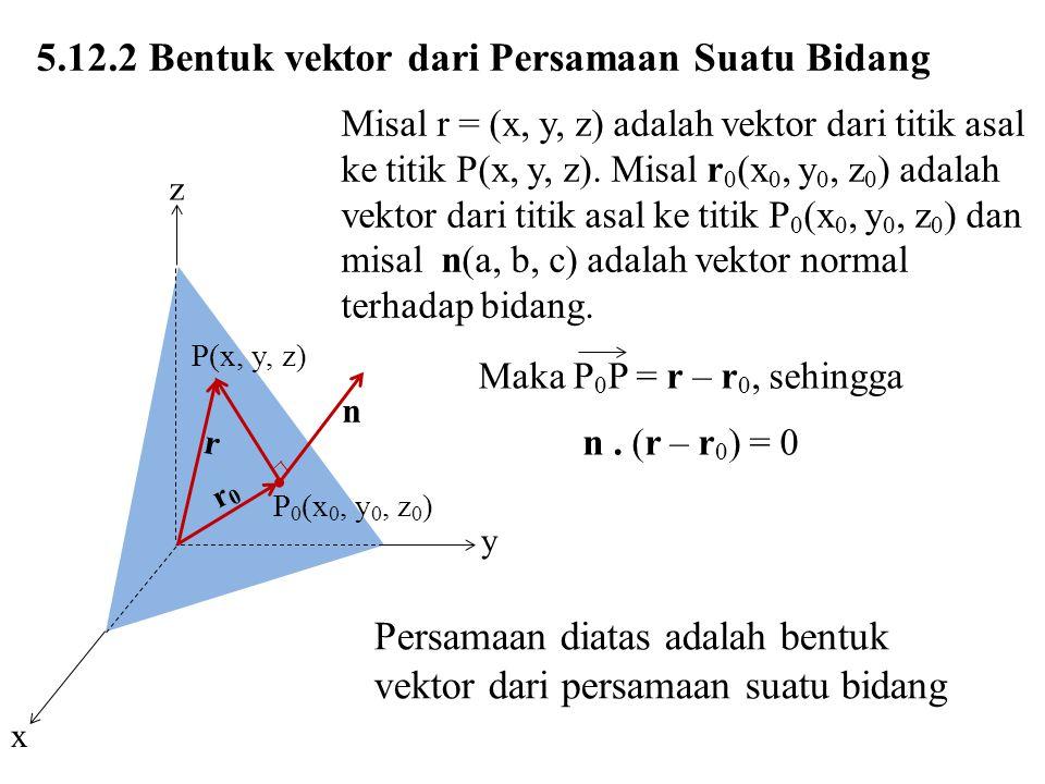 5.12.2 Bentuk vektor dari Persamaan Suatu Bidang