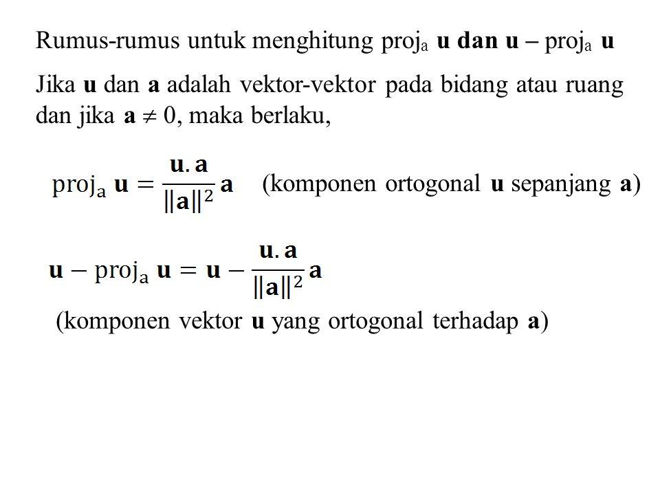 Rumus-rumus untuk menghitung proja u dan u – proja u