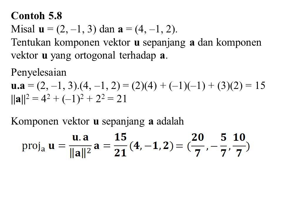 Contoh 5.8 Misal u = (2, –1, 3) dan a = (4, –1, 2). Tentukan komponen vektor u sepanjang a dan komponen.
