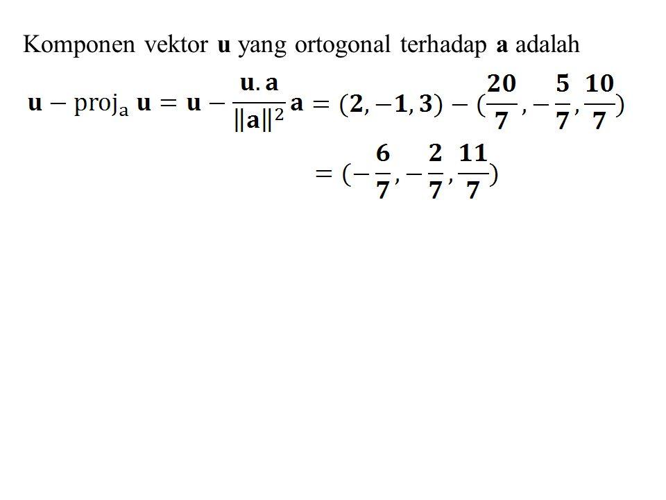 Komponen vektor u yang ortogonal terhadap a adalah