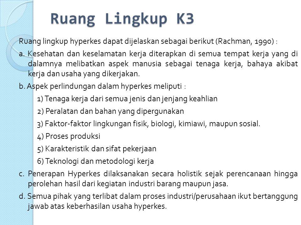 Ruang Lingkup K3 Ruang lingkup hyperkes dapat dijelaskan sebagai berikut (Rachman, 1990) :