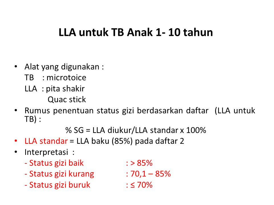 LLA untuk TB Anak 1- 10 tahun