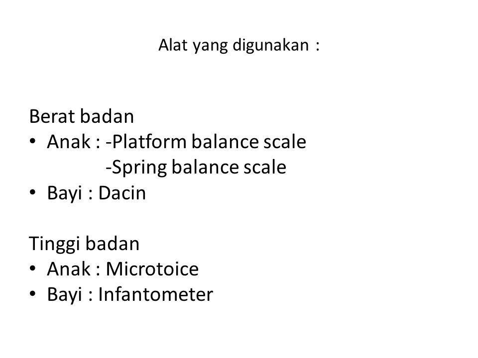 Anak : -Platform balance scale -Spring balance scale Bayi : Dacin