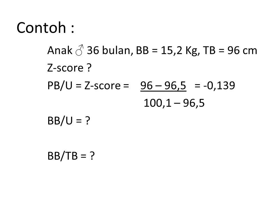 Contoh : Anak ♂ 36 bulan, BB = 15,2 Kg, TB = 96 cm Z-score