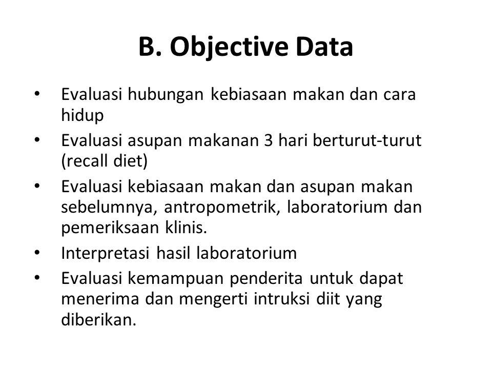 B. Objective Data Evaluasi hubungan kebiasaan makan dan cara hidup