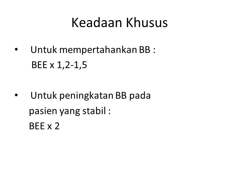 Keadaan Khusus Untuk mempertahankan BB : BEE x 1,2-1,5