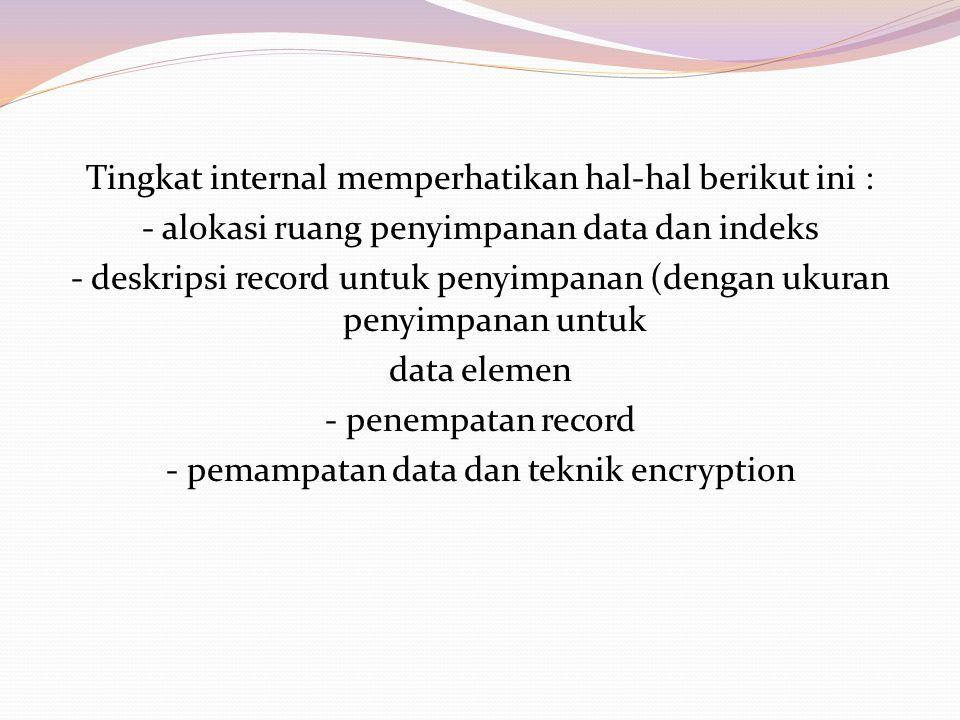 Tingkat internal memperhatikan hal-hal berikut ini : - alokasi ruang penyimpanan data dan indeks - deskripsi record untuk penyimpanan (dengan ukuran penyimpanan untuk data elemen - penempatan record - pemampatan data dan teknik encryption