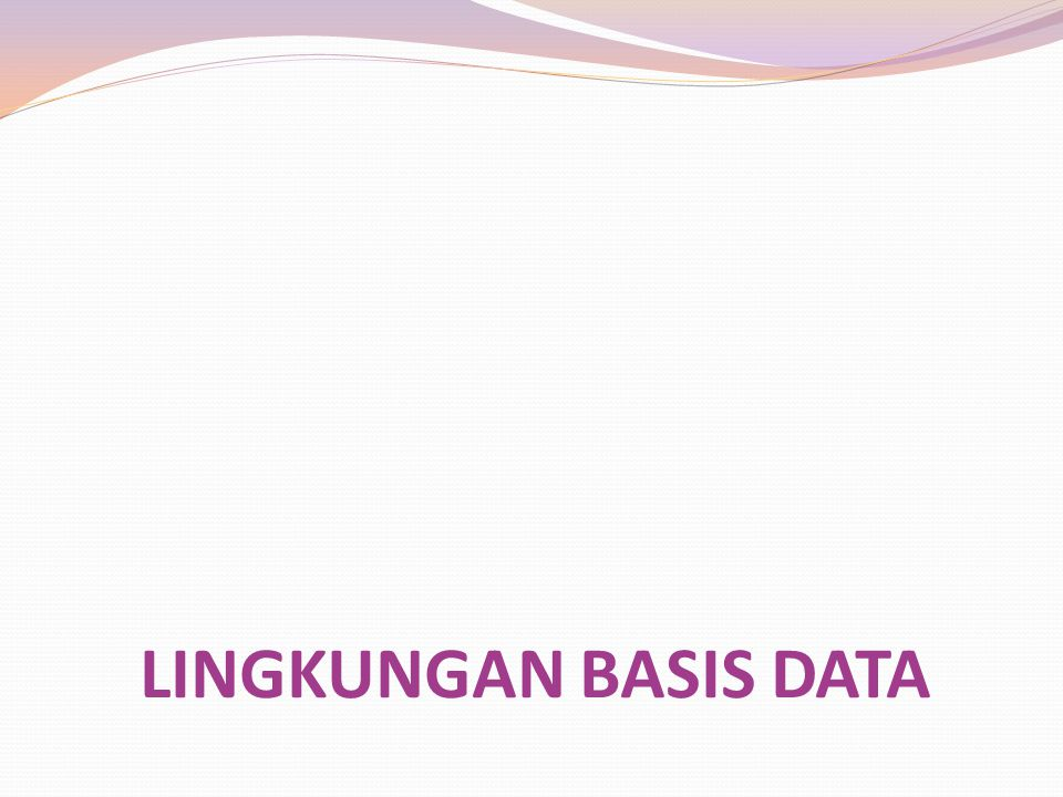 LINGKUNGAN BASIS DATA