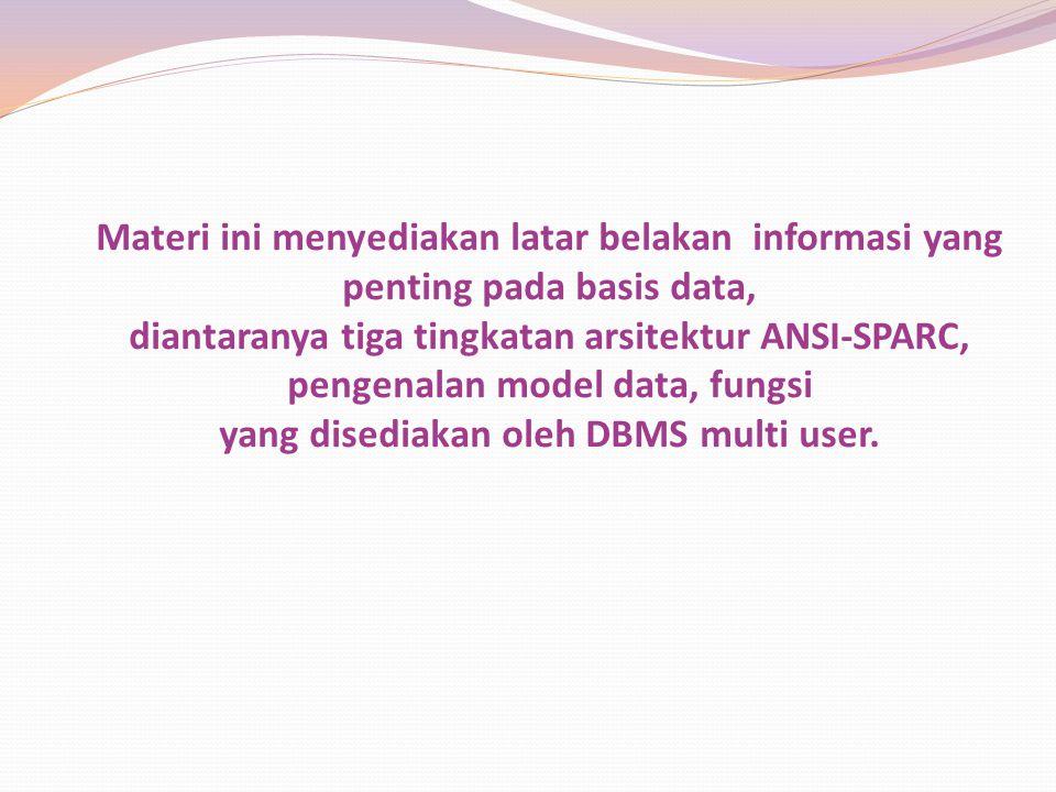 Materi ini menyediakan latar belakan informasi yang penting pada basis data, diantaranya tiga tingkatan arsitektur ANSI-SPARC, pengenalan model data, fungsi yang disediakan oleh DBMS multi user.