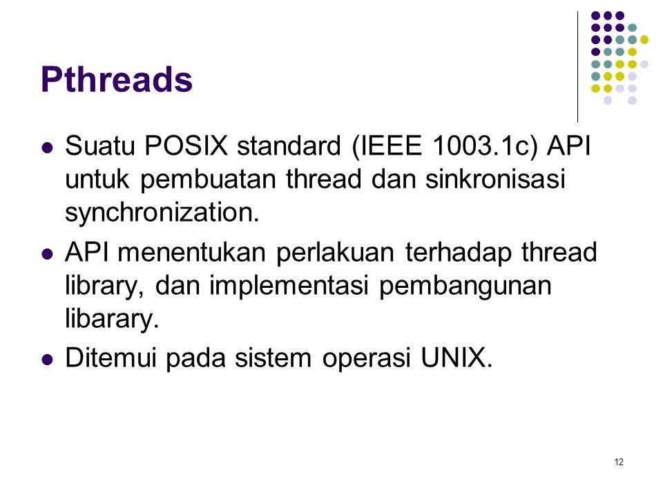 Pthreads Suatu POSIX standard (IEEE 1003.1c) API untuk pembuatan thread dan sinkronisasi synchronization.