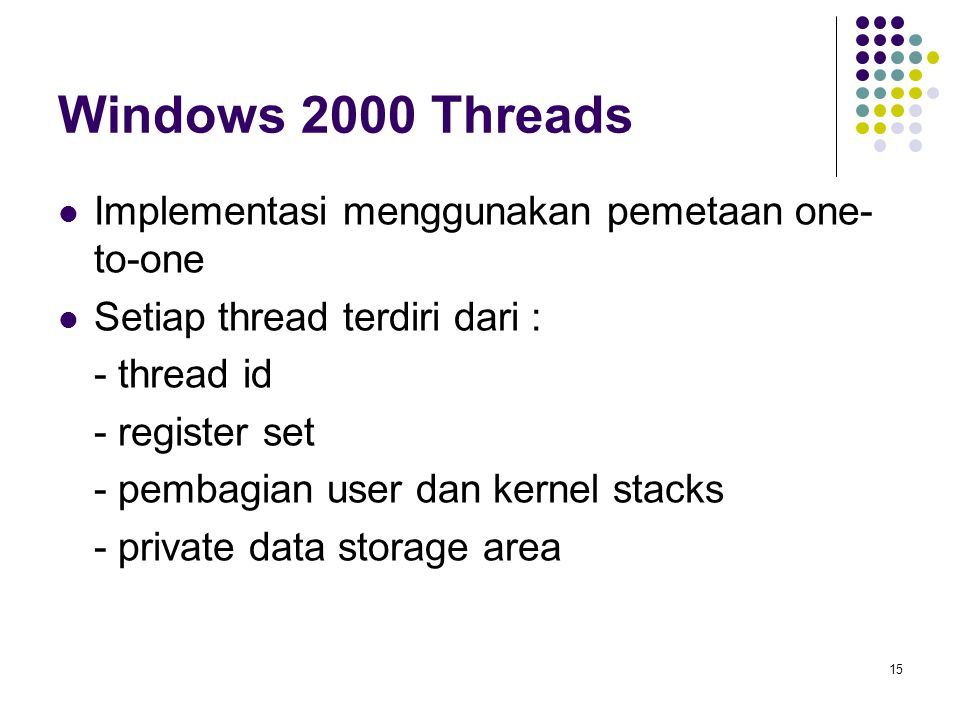 Windows 2000 Threads Implementasi menggunakan pemetaan one-to-one