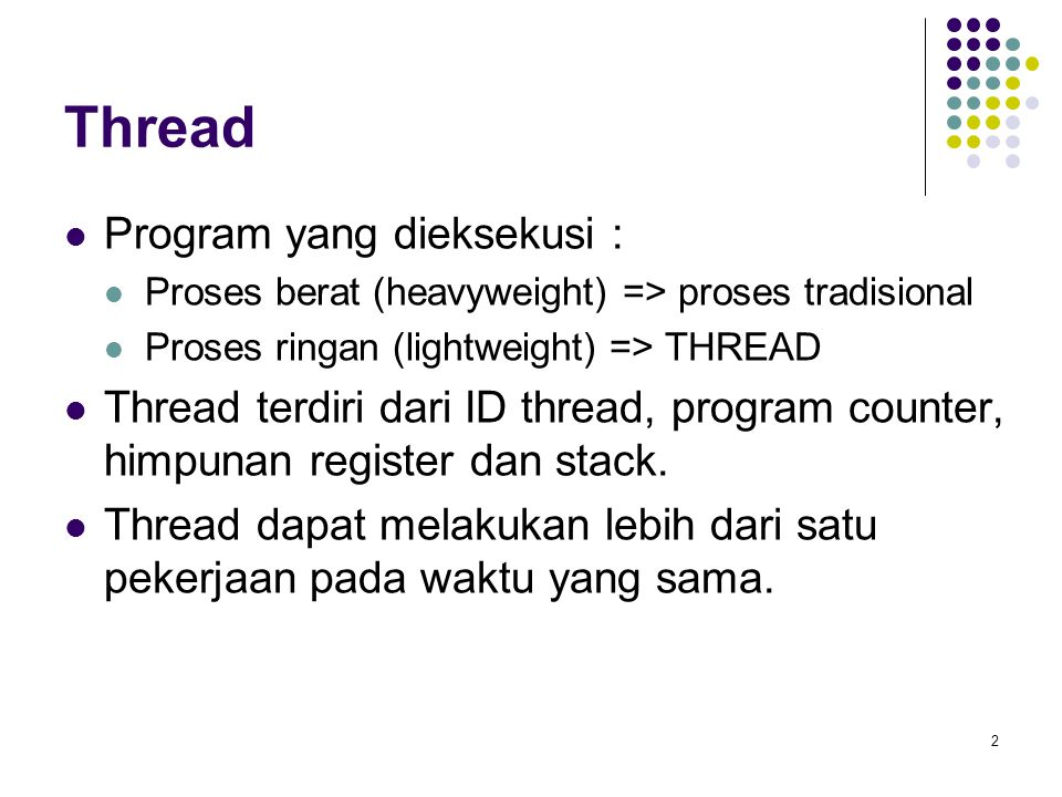Thread Program yang dieksekusi :