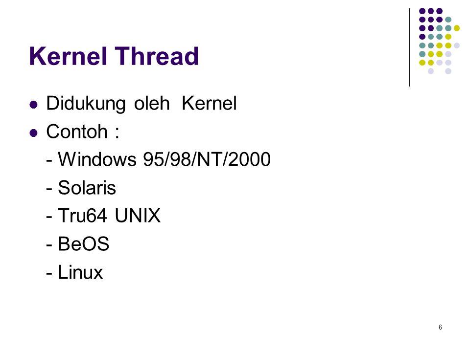 Kernel Thread Didukung oleh Kernel Contoh : - Windows 95/98/NT/2000