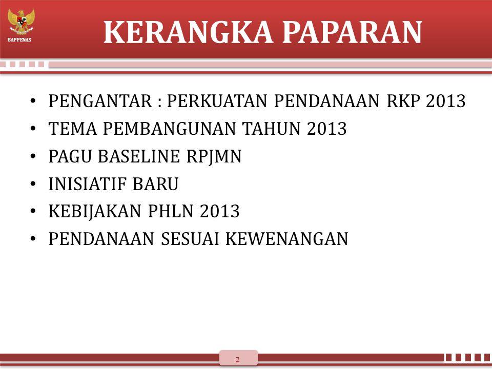 KERANGKA PAPARAN PENGANTAR : PERKUATAN PENDANAAN RKP 2013