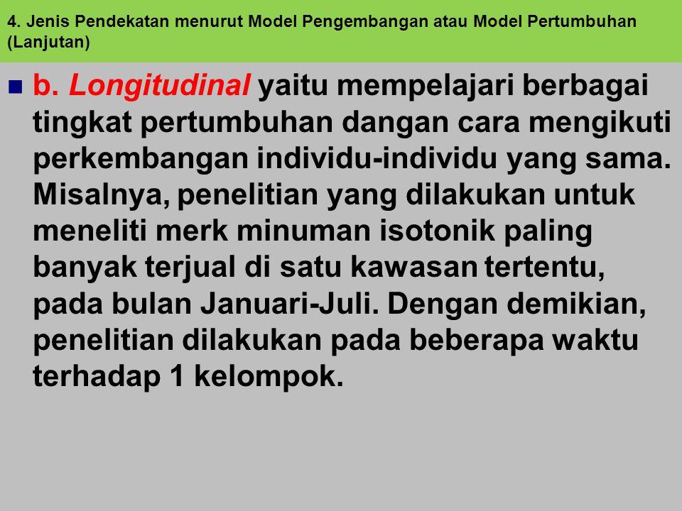 4. Jenis Pendekatan menurut Model Pengembangan atau Model Pertumbuhan