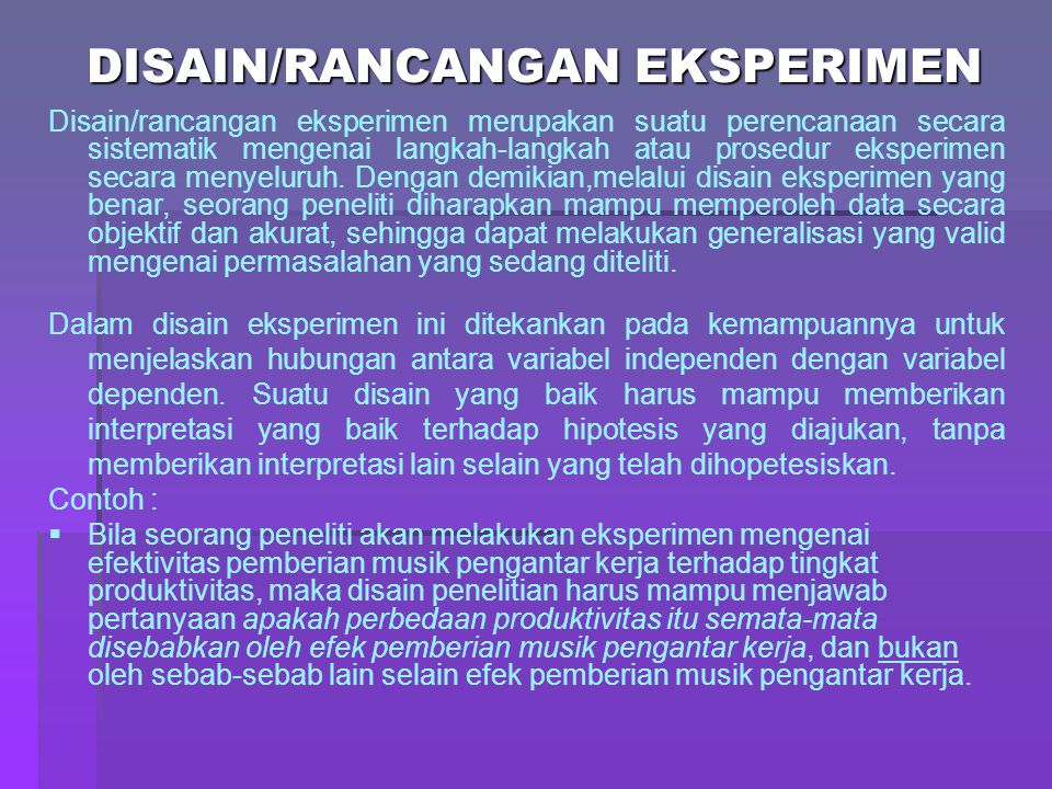 DISAIN/RANCANGAN EKSPERIMEN