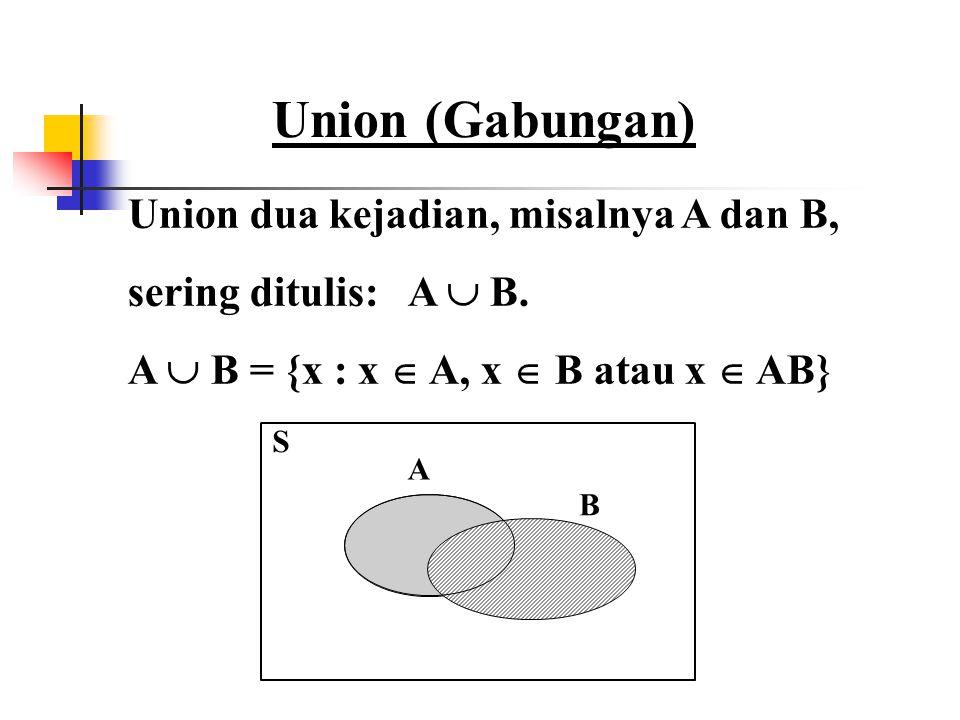 Union (Gabungan) Union dua kejadian, misalnya A dan B,