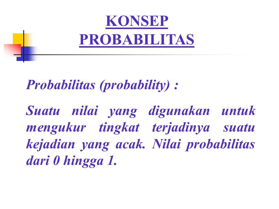 KONSEP PROBABILITAS Probabilitas (probability) :