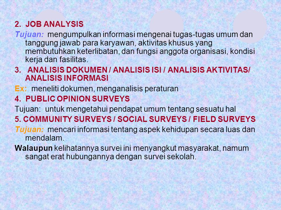 2. JOB ANALYSIS