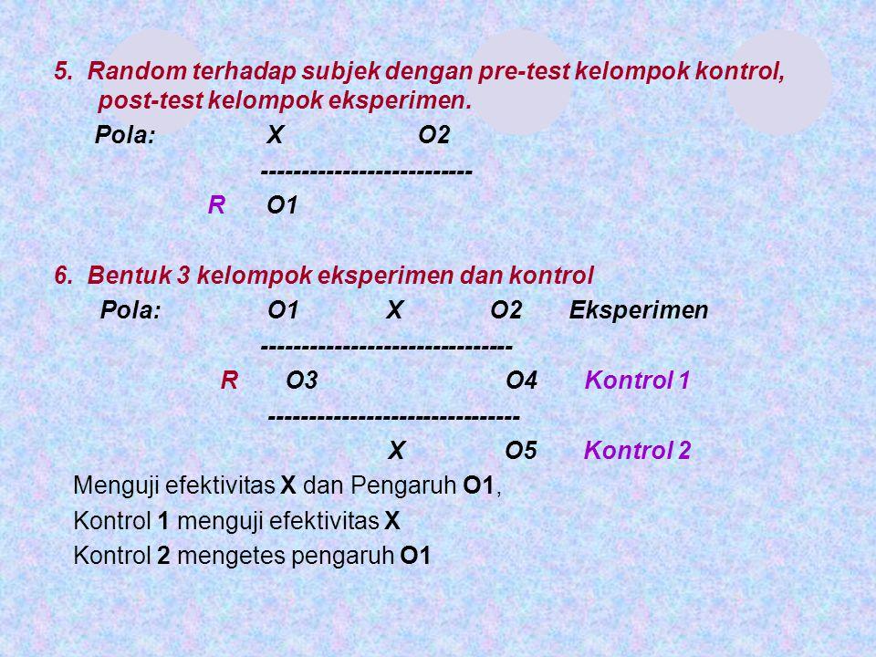 5. Random terhadap subjek dengan pre-test kelompok kontrol, post-test kelompok eksperimen.