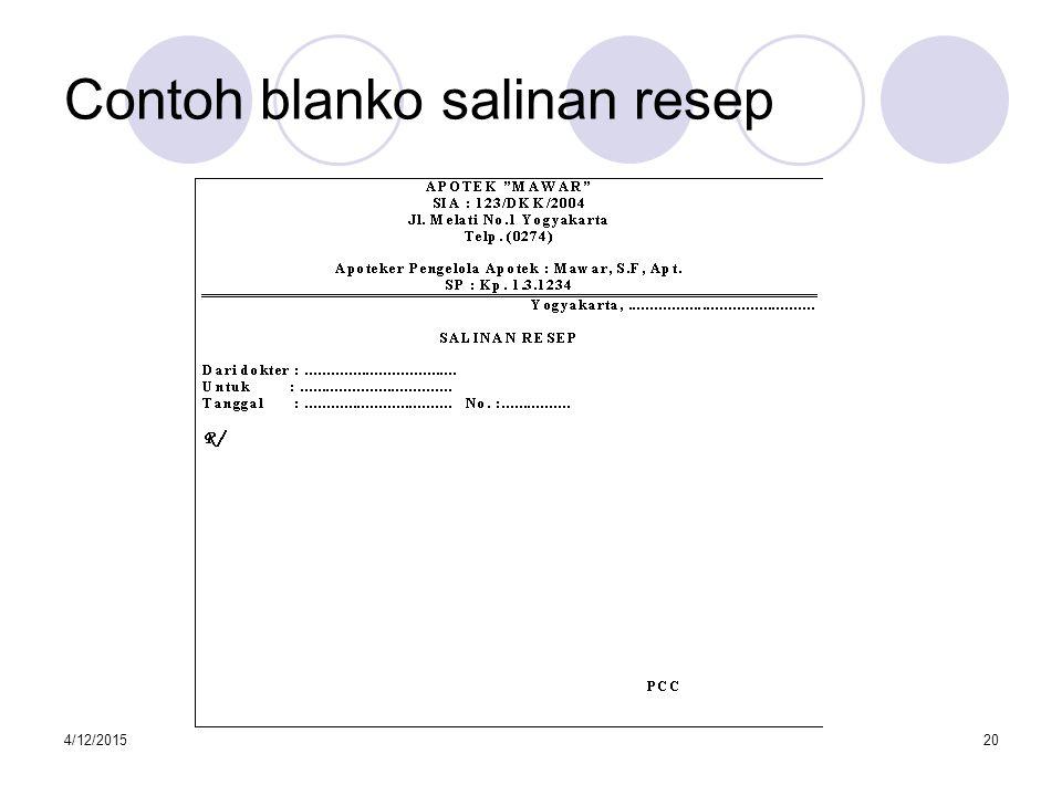 Contoh blanko salinan resep