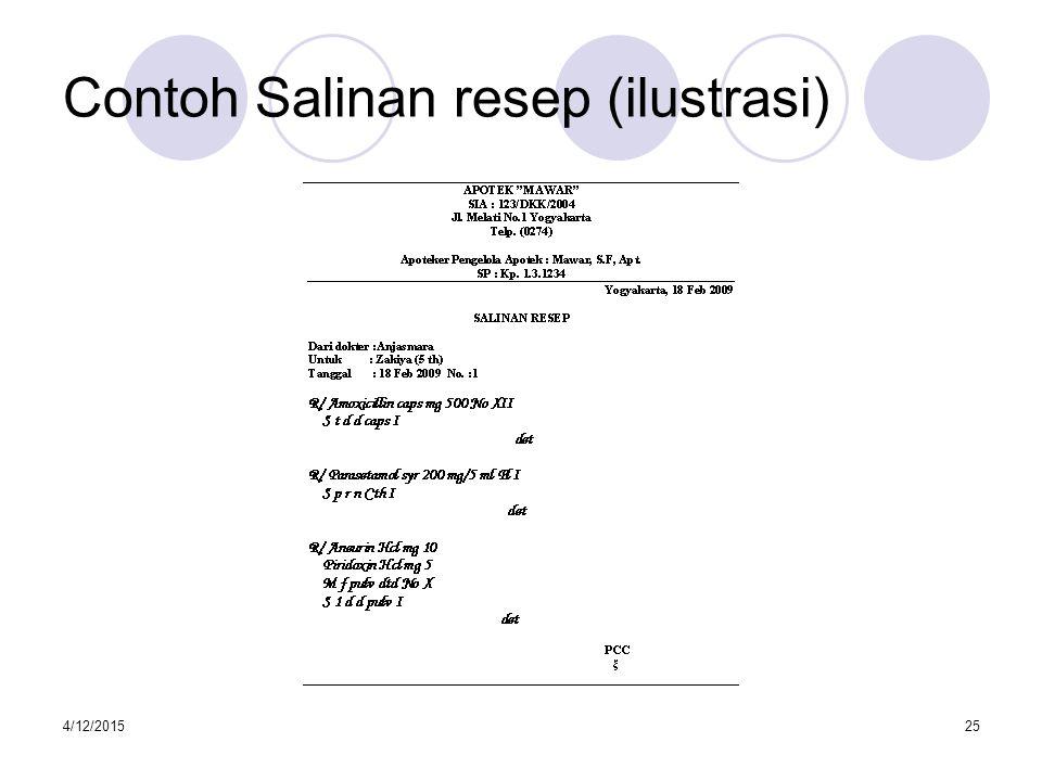 Contoh Salinan resep (ilustrasi)