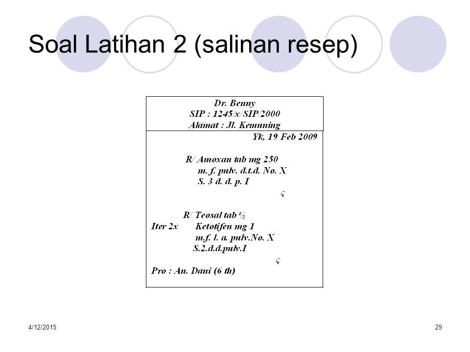 Soal Latihan 2 (salinan resep)