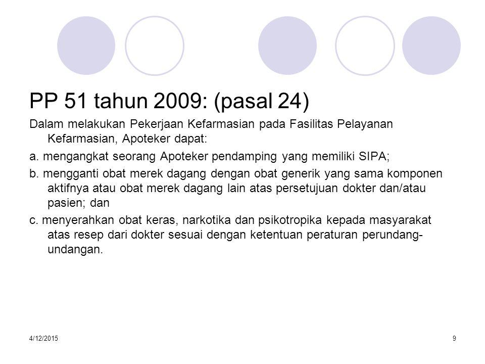PP 51 tahun 2009: (pasal 24) Dalam melakukan Pekerjaan Kefarmasian pada Fasilitas Pelayanan Kefarmasian, Apoteker dapat: