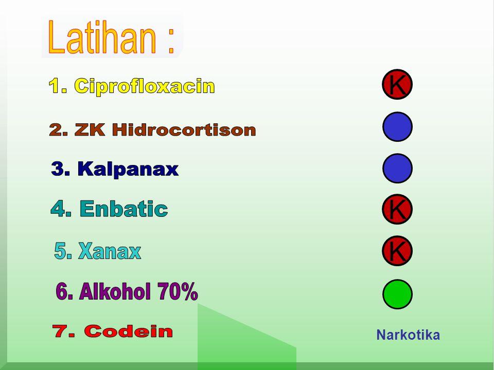 K K K Latihan : 1. Ciprofloxacin 2. ZK Hidrocortison 3. Kalpanax