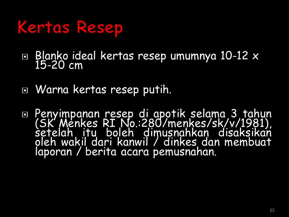 Kertas Resep Blanko ideal kertas resep umumnya 10-12 x 15-20 cm