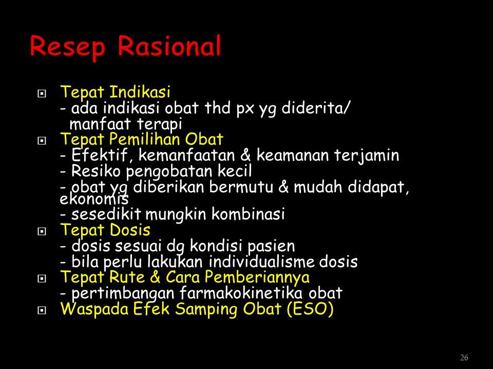 Resep Rasional Tepat Indikasi - ada indikasi obat thd px yg diderita/