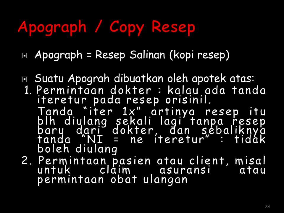 Apograph / Copy Resep Apograph = Resep Salinan (kopi resep)