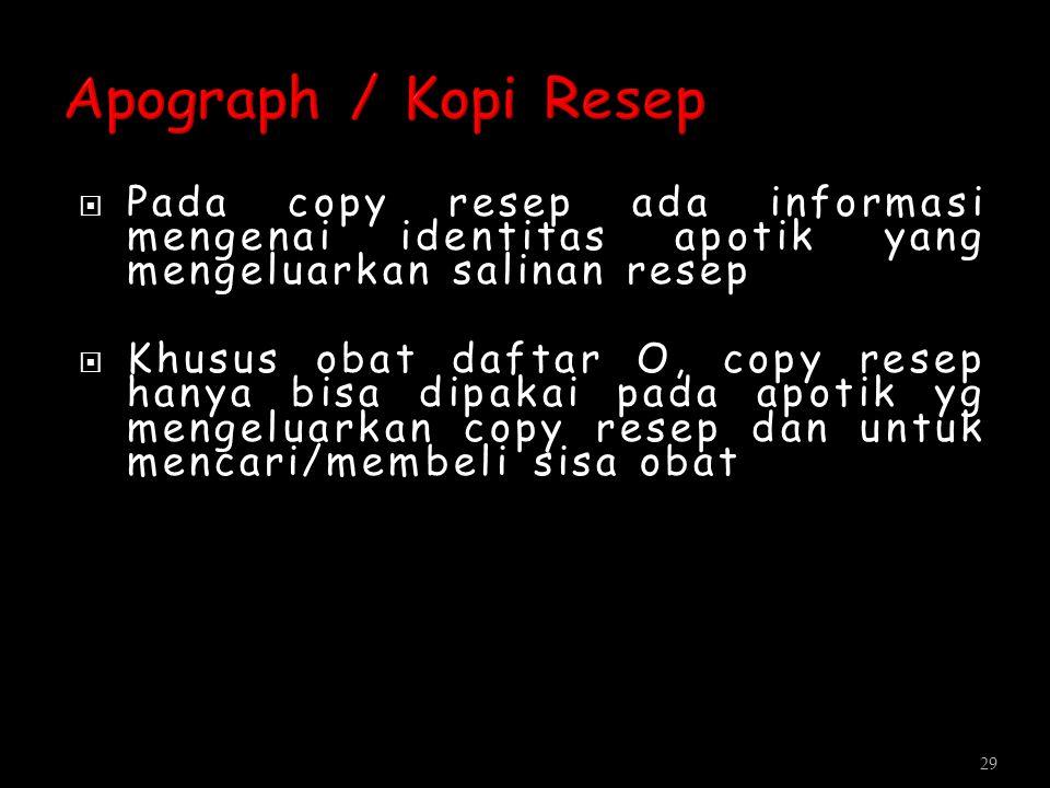 Apograph / Kopi Resep Pada copy resep ada informasi mengenai identitas apotik yang mengeluarkan salinan resep.