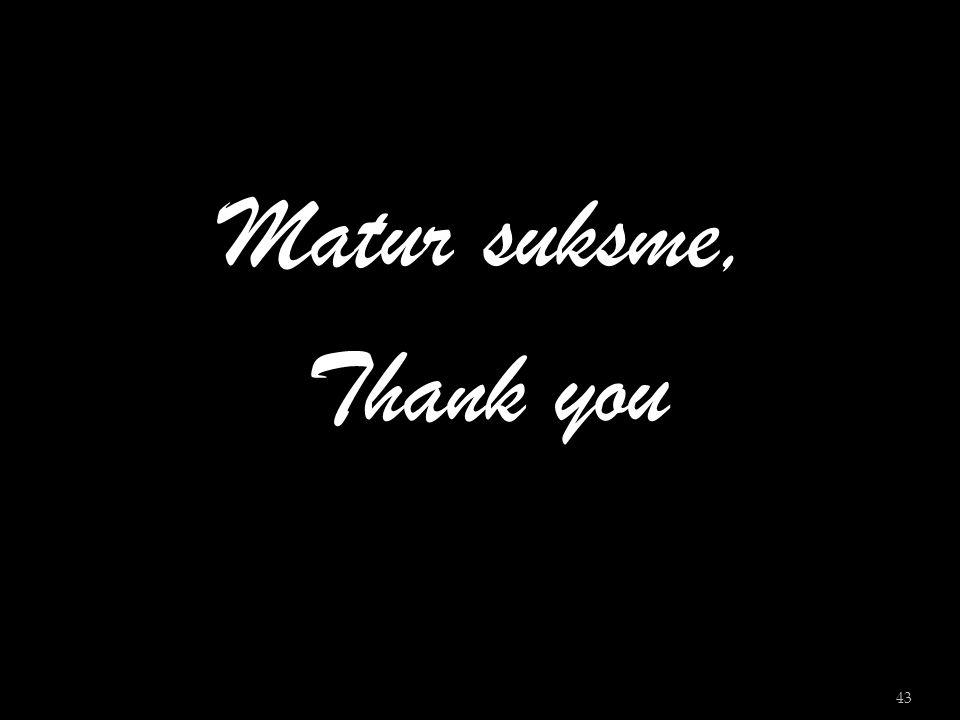 Matur suksme, Thank you
