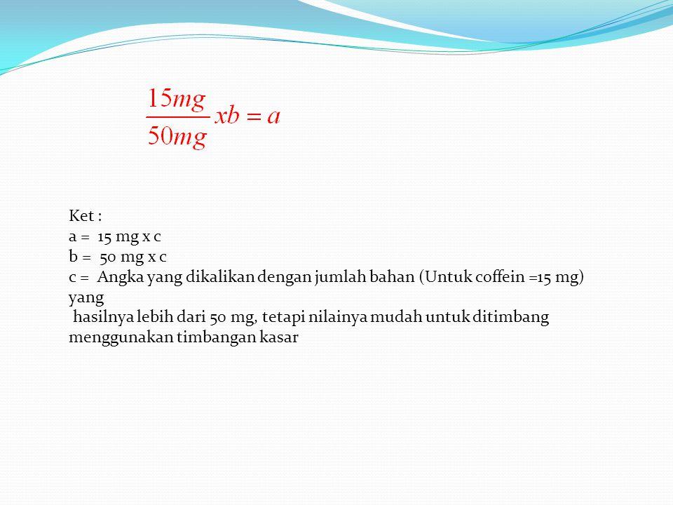 Ket : a = 15 mg x c. b = 50 mg x c. c = Angka yang dikalikan dengan jumlah bahan (Untuk coffein =15 mg) yang.