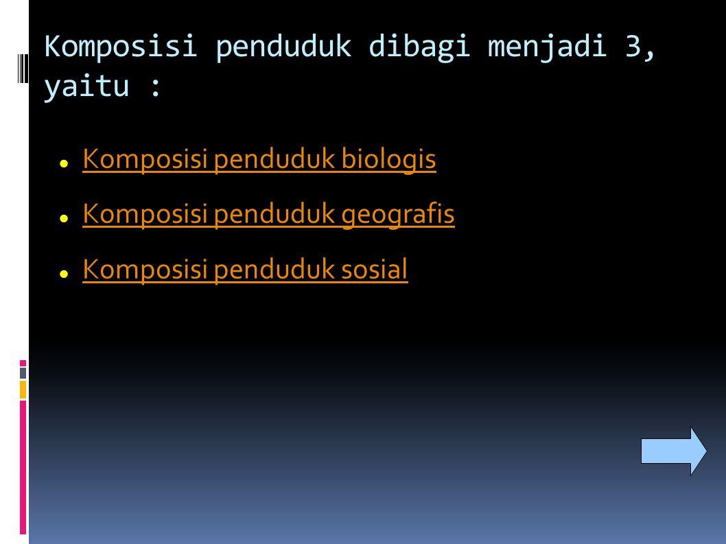 Komposisi penduduk dibagi menjadi 3, yaitu :