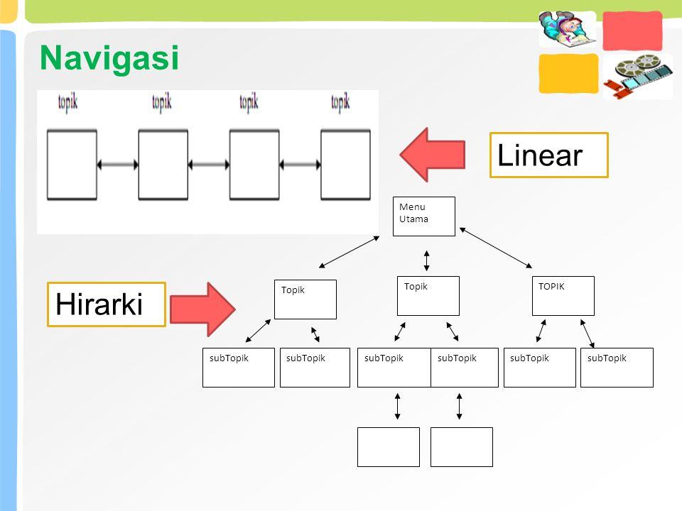 Navigasi Linear Menu Utama Topik TOPIK subTopik Hirarki