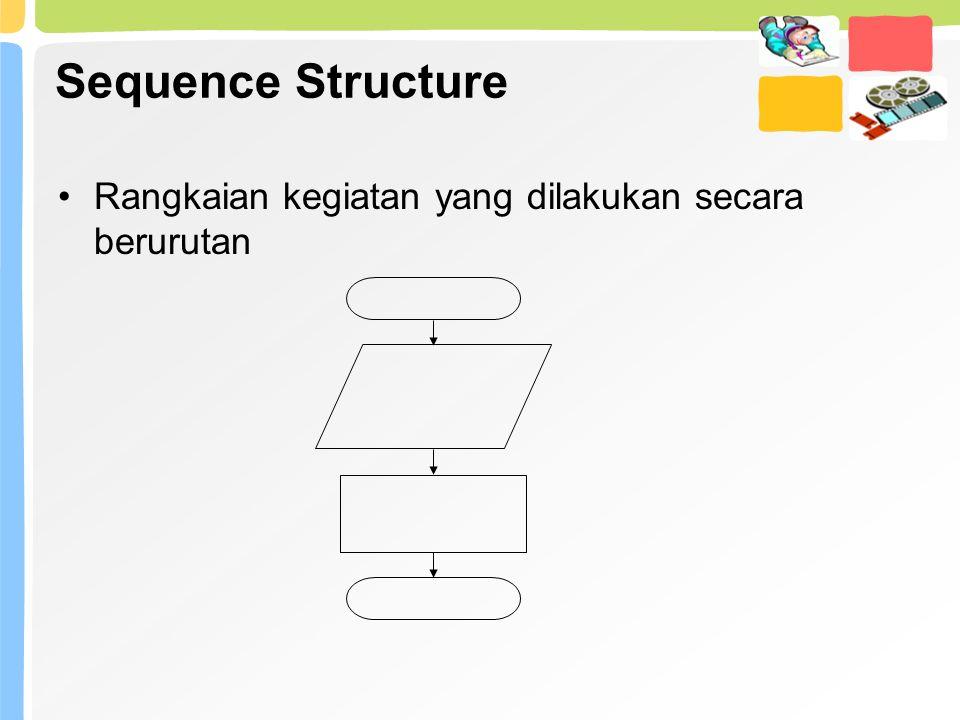 Sequence Structure Rangkaian kegiatan yang dilakukan secara berurutan