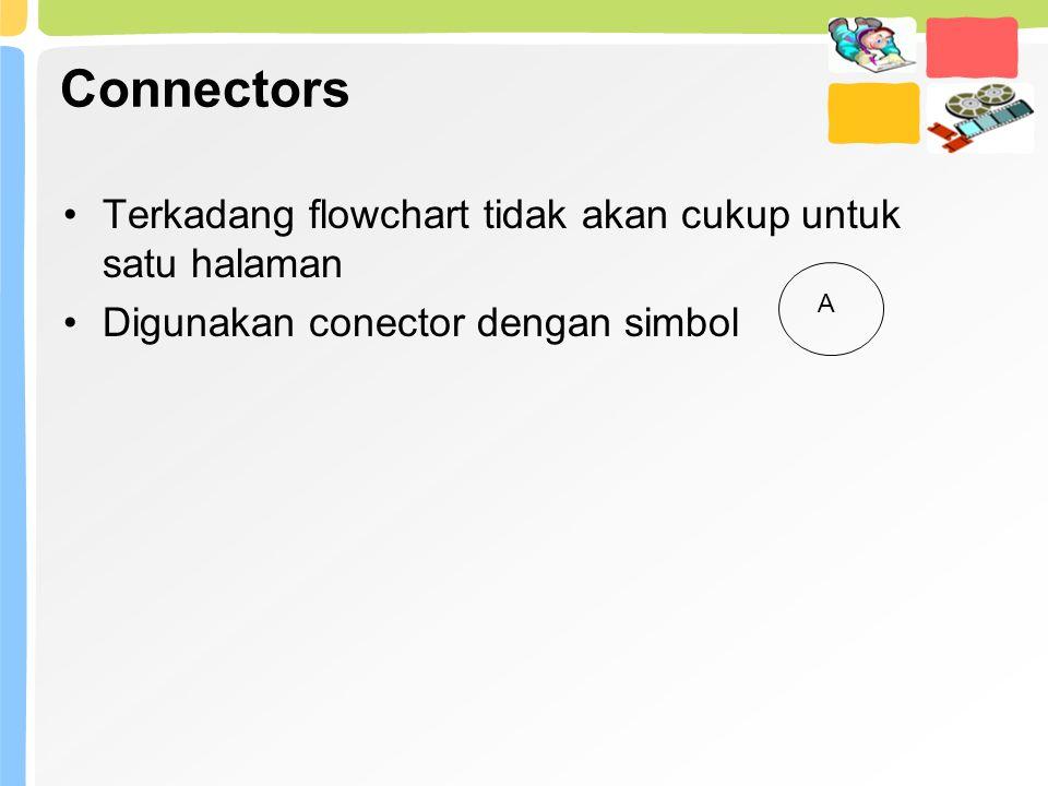 Connectors Terkadang flowchart tidak akan cukup untuk satu halaman