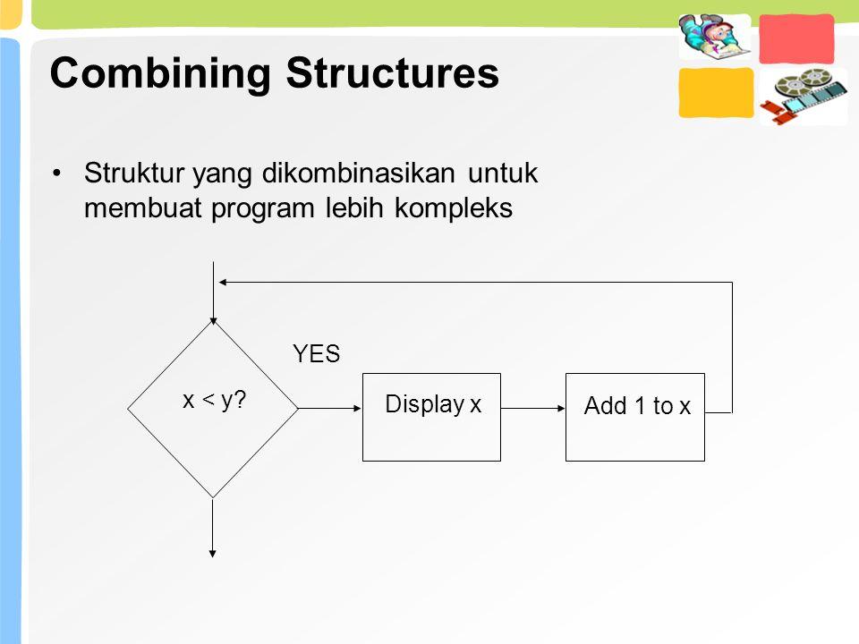 Combining Structures Struktur yang dikombinasikan untuk membuat program lebih kompleks. x < y Display x.