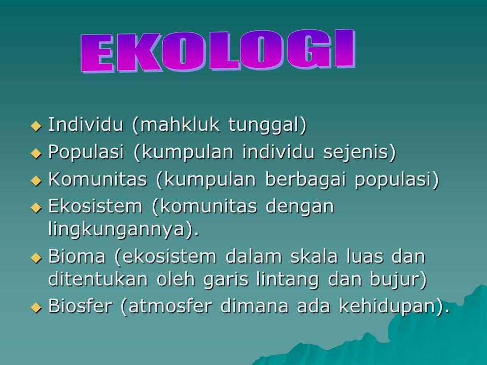 EKOLOGI Individu (mahkluk tunggal)