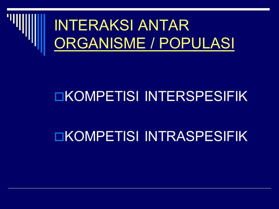 INTERAKSI ANTAR ORGANISME / POPULASI