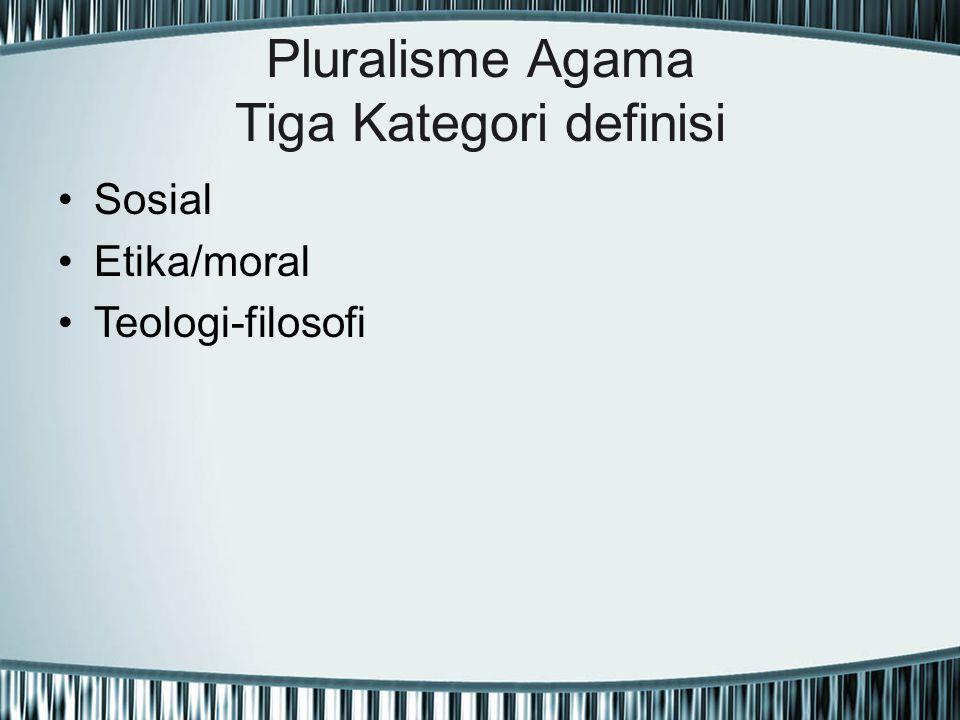 Pluralisme Agama Tiga Kategori definisi