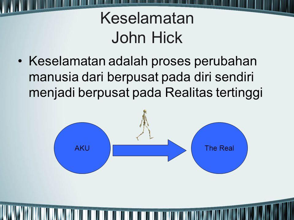 Keselamatan John Hick Keselamatan adalah proses perubahan manusia dari berpusat pada diri sendiri menjadi berpusat pada Realitas tertinggi.