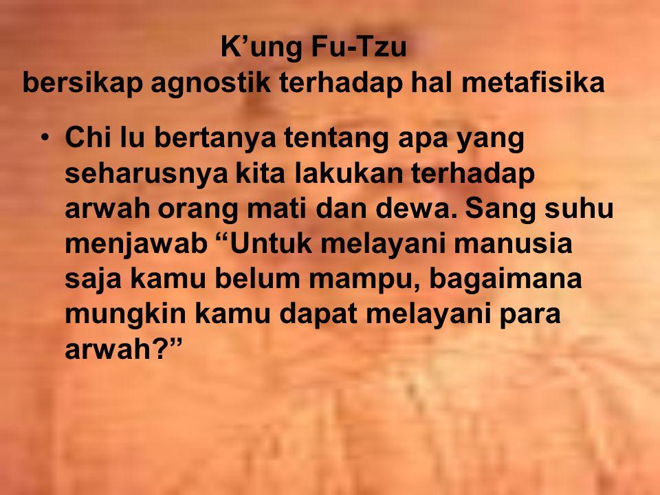 K'ung Fu-Tzu bersikap agnostik terhadap hal metafisika