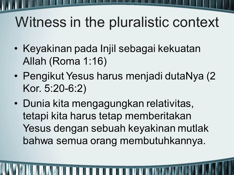 Witness in the pluralistic context