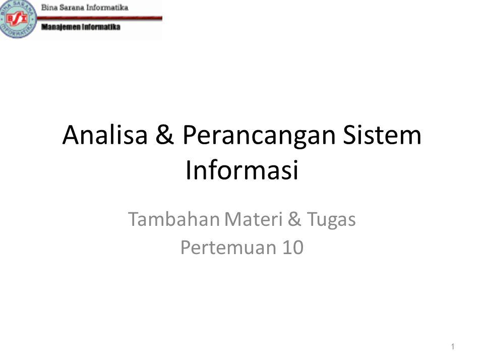 Analisa & Perancangan Sistem Informasi