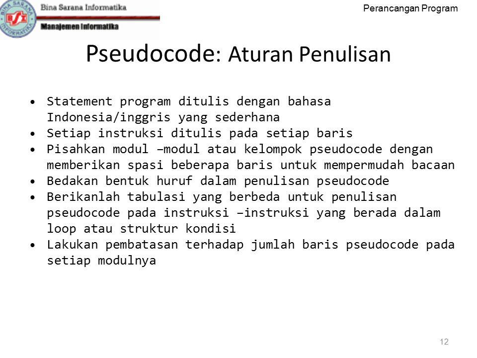 Pseudocode: Aturan Penulisan